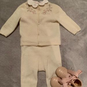 Baby girl cashmere cardigan and pants